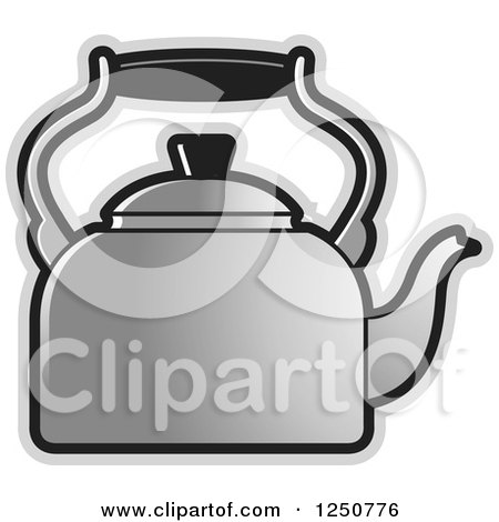 Clipart of a Silver Tea Kettle - Royalty Free Vector Illustration by Lal Perera