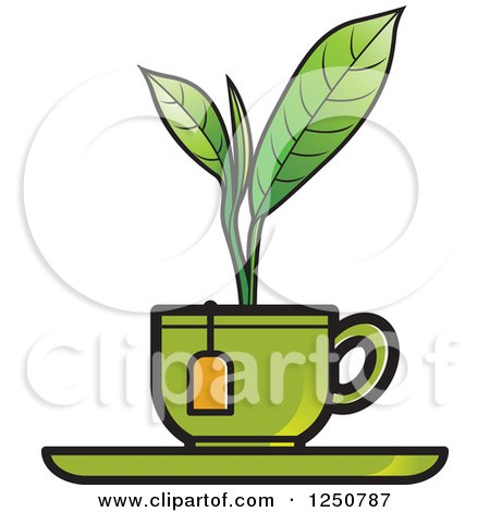 Clipart of a Green Plant Growing from a Tea Cup - Royalty Free Vector Illustration by Lal Perera