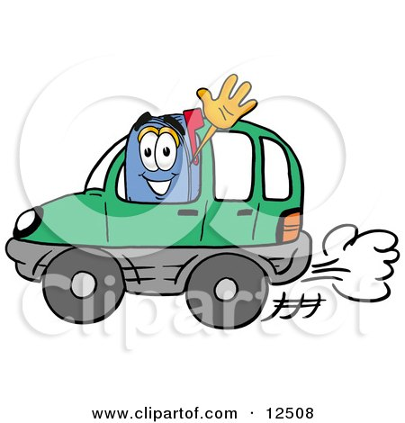 Le jeu du nombre en image... (QUE DES CHIFFRES) - Page 40 12508-Clipart-Picture-Of-A-Blue-Postal-Mailbox-Cartoon-Character-Driving-A-Green-Car-And-Waving