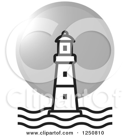 Clipart of a Black and White Lighthouse and Silver Moon or Sun - Royalty Free Vector Illustration by Lal Perera