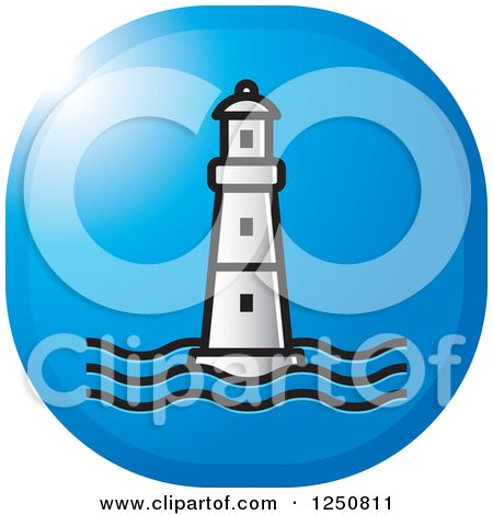 Clipart of a Silver Lighthouse on Blue - Royalty Free Vector Illustration by Lal Perera