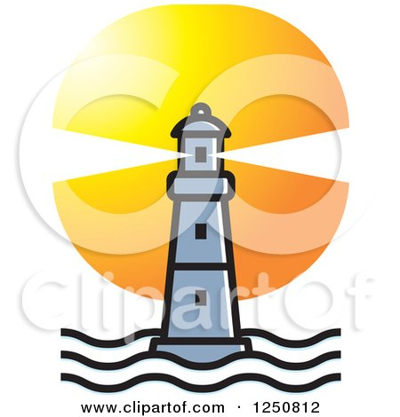 Clipart of a Silver Lighthouse at Sunset - Royalty Free Vector Illustration by Lal Perera