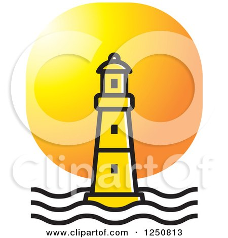 Clipart of a Yellow Lighthouse at Sunset - Royalty Free Vector Illustration by Lal Perera
