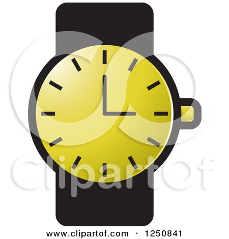 Clipart of a Black and Gold Wrist Watch - Royalty Free Vector Illustration by Lal Perera