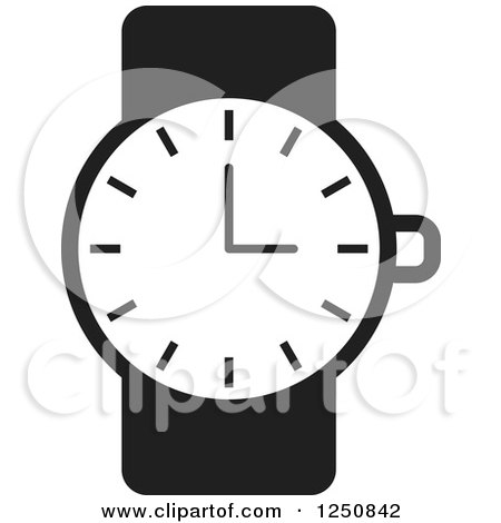 Clipart of a Black and White Wrist Watch - Royalty Free Vector Illustration by Lal Perera