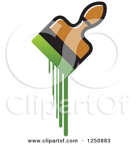 Clipart of a Paintbrush Dripping with Green - Royalty Free Vector Illustration by Lal Perera