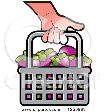 Clipart of a Hand Carrying a Shopping Basket Full of Mangosteen Fruit - Royalty Free Vector Illustration by Lal Perera