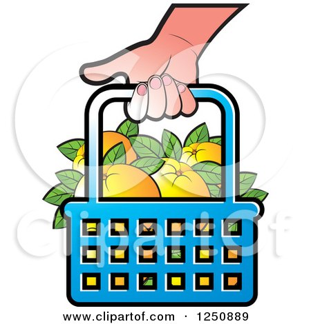 Clipart of a Hand Carrying a Shopping Basket Full of Orange Fruit - Royalty Free Vector Illustration by Lal Perera