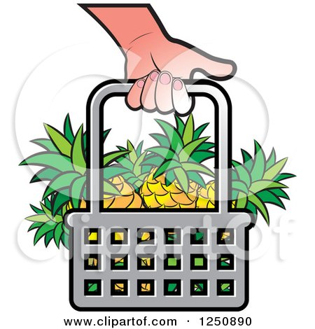 Clipart of a Hand Carrying a Shopping Basket Full of Pineapple Fruit - Royalty Free Vector Illustration by Lal Perera
