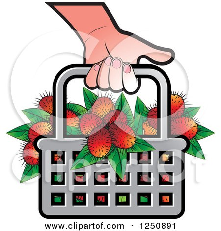 Clipart of a Hand Carrying a Shopping Basket Full of Fruit - Royalty Free Vector Illustration by Lal Perera