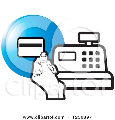 Clipart of a Black and White Hand Holding a Credit Card over a Cash Register and Blue Circle - Royalty Free Vector Illustration by Lal Perera