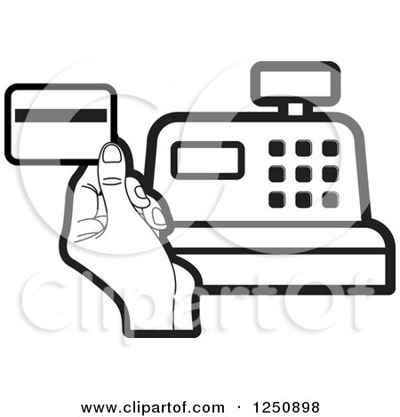 Clipart of a Black and White Hand Holding a Credit Card over a Cash Register - Royalty Free Vector Illustration by Lal Perera