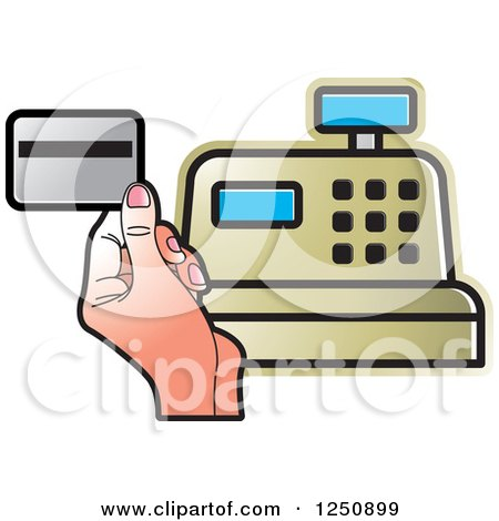 Clipart of a Hand Holding a Debit Card over a Gold Cash Register - Royalty Free Vector Illustration by Lal Perera
