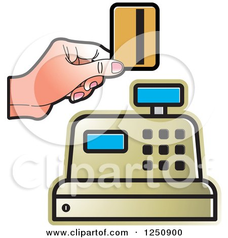 Clipart of a Hand Holding a Debit Card over a Gold Cash Register 2 - Royalty Free Vector Illustration by Lal Perera