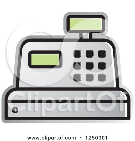 Clipart of a Silver Cash Register - Royalty Free Vector Illustration by Lal Perera