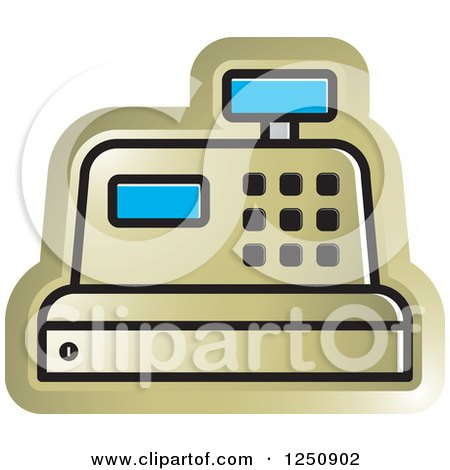 Clipart of a Gold Cash Register - Royalty Free Vector Illustration by Lal Perera