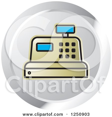 Clipart of a Gold Cash Register on a Silver Circle - Royalty Free Vector Illustration by Lal Perera