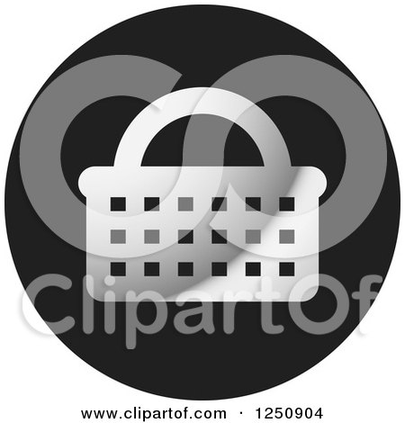 Clipart of a Grayscale Shopping Basket Icon - Royalty Free Vector Illustration by Lal Perera