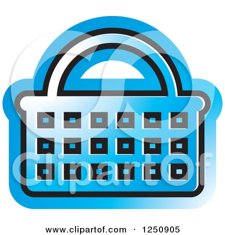 Clipart of a Blue Shopping Basket Icon - Royalty Free Vector Illustration by Lal Perera