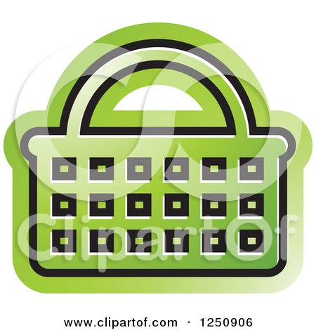 Clipart of a Green Shopping Basket Icon - Royalty Free Vector Illustration by Lal Perera