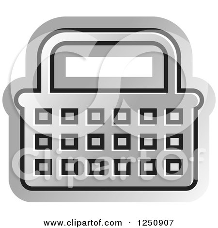 Clipart of a Silver Shopping Basket Icon - Royalty Free Vector Illustration by Lal Perera