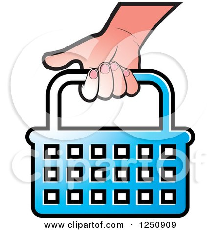 Clipart of a Hand Carrying a Blue Shopping Basket Icon - Royalty Free Vector Illustration by Lal Perera