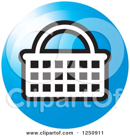 Clipart of a Round Blue Shopping Basket Icon - Royalty Free Vector Illustration by Lal Perera