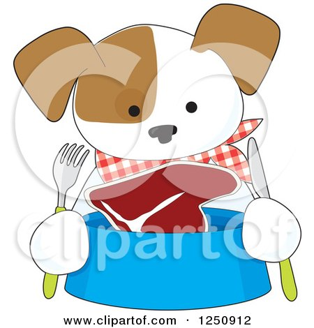Clipart of a Hungry Puppy with Steak in His Bowl - Royalty Free Vector Illustration by Maria Bell