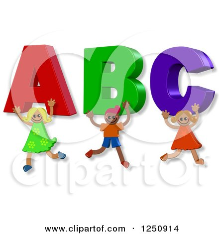 Clipart of 3d Happy Children Carrying ABC - Royalty Free Illustration by Prawny