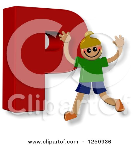 Clipart of a 3d Capital Letter P and Happy Running Boy - Royalty Free Illustration by Prawny
