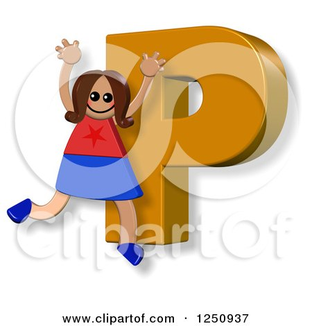 Clipart of a 3d Capital Letter P and Happy Running Girl - Royalty Free Illustration by Prawny