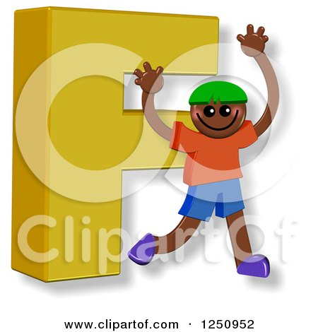 Clipart of a 3d Capital Letter F and Happy Running Boy - Royalty Free Illustration by Prawny