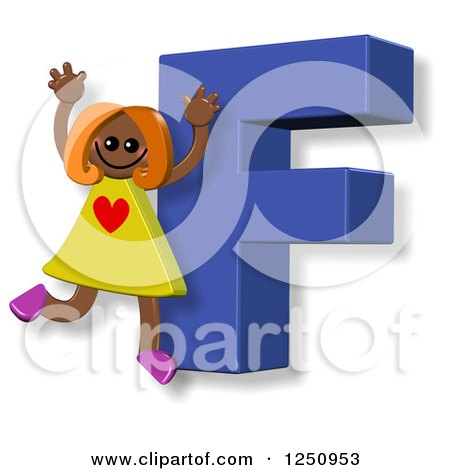 Clipart of a 3d Capital Letter F and Happy Running Girl - Royalty Free Illustration by Prawny