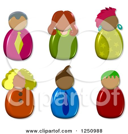 Clipart of 3d Male and Female Avatars - Royalty Free Illustration by Prawny