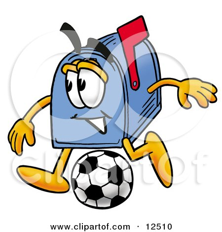 Clipart Picture of a Blue Postal Mailbox Cartoon Character Kicking a Soccer Ball by Toons4Biz