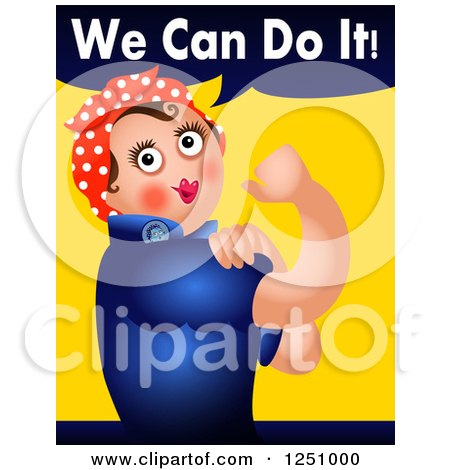 Clipart of a Rosie the Riveter We Can Do It Parody - Royalty Free Illustration by Prawny