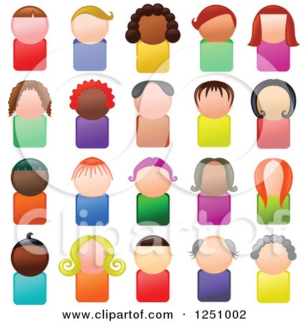 Clipart of Faceless Male and Female Avatar Icon People - Royalty Free Illustration by Prawny