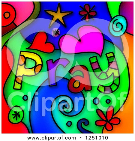 Clipart of a Stained Glass Design of Pray Text and Shapes over Colors - Royalty Free Illustration by Prawny