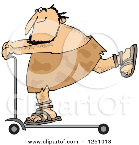 Clipart of a Caveman on a Scooter - Royalty Free Vector Illustration by djart