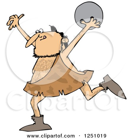 Clipart of a Caveman Running with a Bowling Ball - Royalty Free Vector Illustration by djart