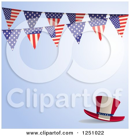 Clipart of a Blue Background with a Top Hat and American Flag Bunting Banner - Royalty Free Vector Illustration by elaineitalia