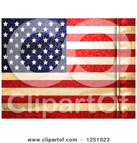 Clipart of a Denim Textured American Flag Background with a Seam - Royalty Free Vector Illustration by elaineitalia
