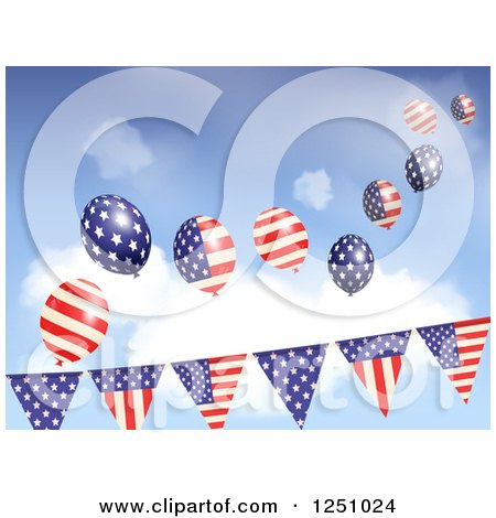 Clipart of Party Flag Banners with American Flag Balloons Against Sky - Royalty Free Vector Illustration by elaineitalia