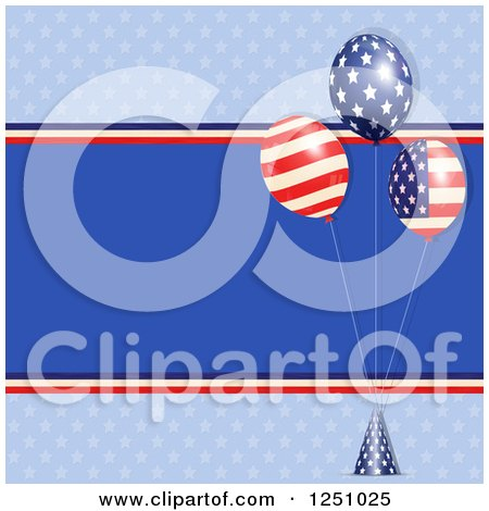 Clipart of a Patriotic American Background with Flag Party Balloons over Blue - Royalty Free Vector Illustration by elaineitalia