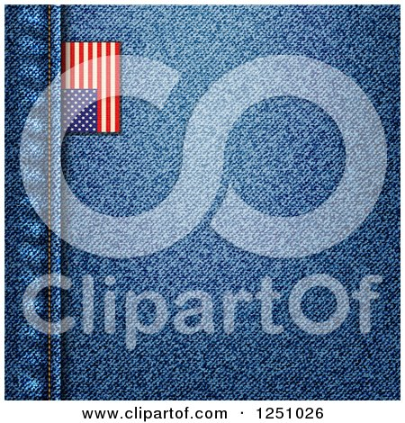 Clipart of a Blue Denim Jeans Background with a Seam and American Flag Tag - Royalty Free Vector Illustration by elaineitalia