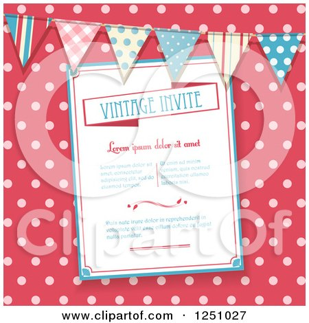 Clipart of a Vintage Invitation over Pink Polka Dots with a Bunting - Royalty Free Vector Illustration by elaineitalia