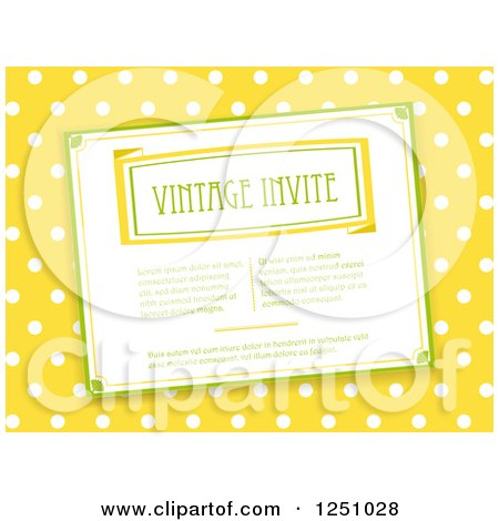 Clipart of a Vintage Invitation over Yellow and White Polka Dots - Royalty Free Vector Illustration by elaineitalia