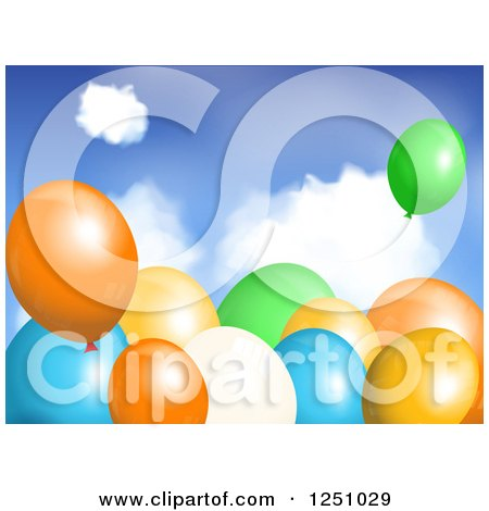 Clipart of 3d Colorful Party Balloons over Sky - Royalty Free Vector Illustration by elaineitalia