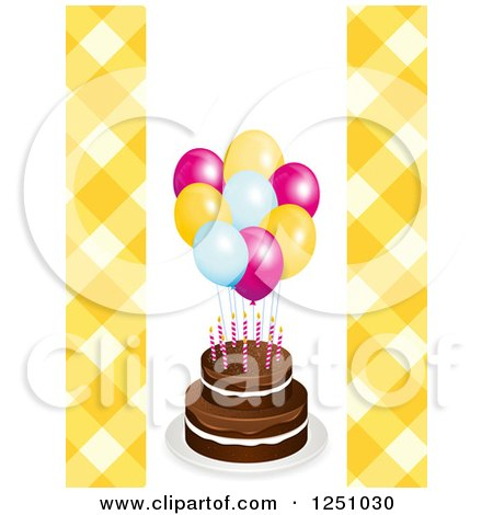 Clipart of a Birthday Cake with Party Balloons and Yellow Gingham - Royalty Free Vector Illustration by elaineitalia