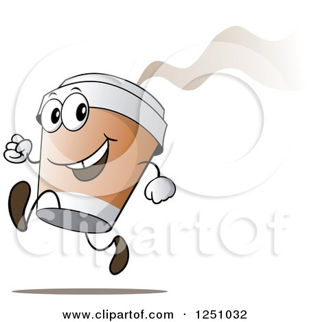 Clipart of a Happy Hot to Go Coffee Cup Character Running - Royalty Free Vector Illustration by Holger Bogen